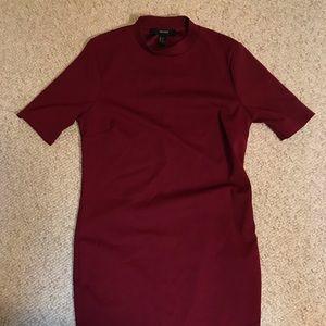 Forever 21 Maroon Short-Sleeve Mock Dress